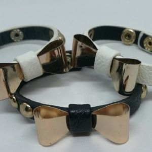 NEW pics ! Faux Leather and Bow Bracelet